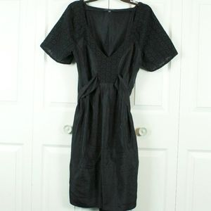 Banana Republic Black Dress 100% Silk Lace Size 14